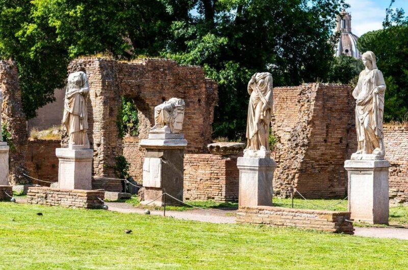 statues inside the roman forum